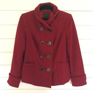 The Limited Wine Colored Wool Blend Coat